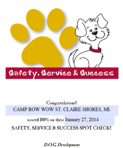 Camp Bow Wow Safety Standard 100%