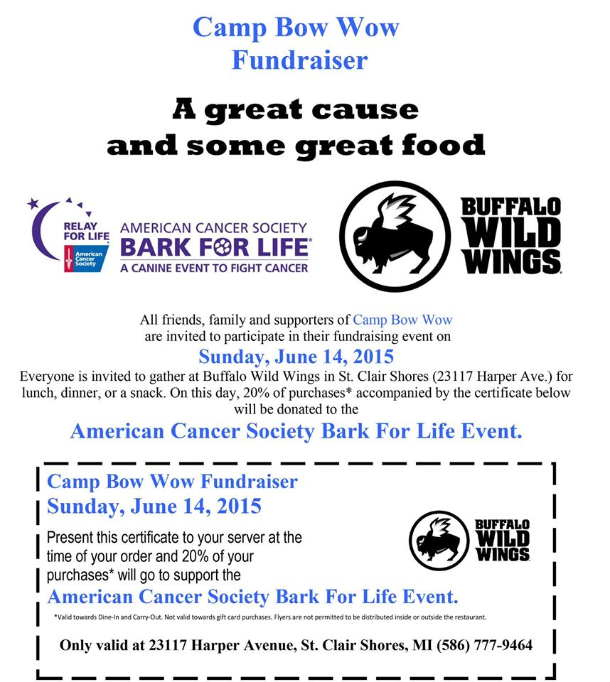 Join Us At Buffalo Wild Wings Sunday, June 14th To Benefit The ...